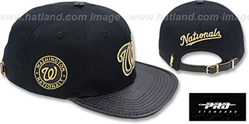 Nationals 'METALLIC POP STRAPBACK' Black Hat by Pro Standard