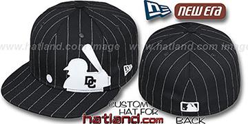 Nationals 'MLB SILHOUETTE PINSTRIPE' Black-White Fitted Hat by New Era