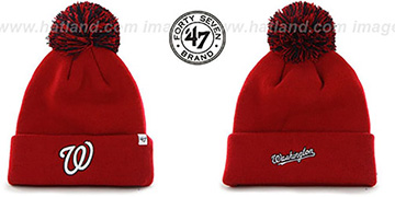 Nationals 'POMPOM CUFF' Red Knit Beanie Hat by Twins 47 Brand