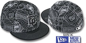 Nationals 'PUFFY REMIX' Black-White Fitted Hat by New Era