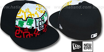 Nationals RASTA LAYERED Black Fitted Hat by New Era
