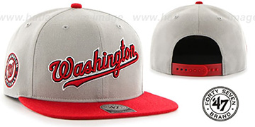 Nationals 'SCRIPT-SIDE SNAPBACK' Grey-Red Hat by Twins 47 Brand