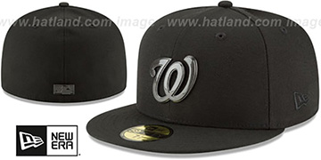 Nationals 'SLEEKED BLACK METAL-BADGE' Black Fitted Hat by New Era