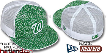 Nationals 'ST PATS FLOCKING MESH-BACK' Kelly-White Fitted Hat by New Era