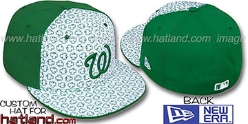 Nationals 'ST PATS FLOCKING PINWHEEL' White-Kelly Fitted Hat by New Era