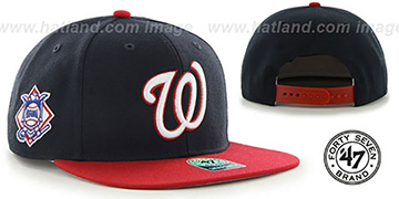 Nationals 'SURE-SHOT SNAPBACK' Navy-Red Hat by Twins 47 Brand