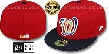 Nationals 'TYE-DYE INSIDER' Red-Navy Fitted Hat by New Era