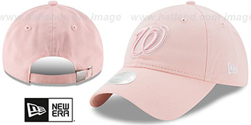 Nationals WOMENS PREFERRED PICK STRAPBACK Light Pink Hat by New Era