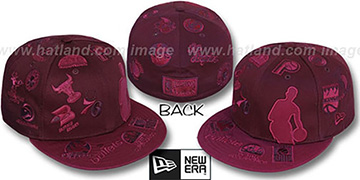 NBA 'SILHOUETTE ALL-OVER' Maroon-Burgundy Fitted Hat by New Era