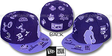 NBA SILHOUETTE ALL-OVER Purple-Lavender Fitted Hat by New Era