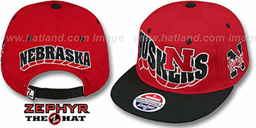 Nebraska 2T FLASHBACK SNAPBACK Red-Black Hat by Zephyr