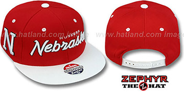 Nebraska '2T HEADLINER SNAPBACK' Red-White Hat by Zephyr