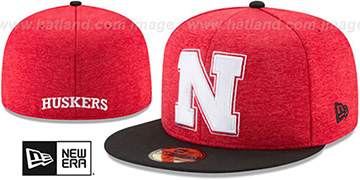 Nebraska 'HEATHER-HUGE' Red-Black Fitted Hat by New Era
