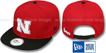 Nebraska 'TEAM-BASIC PINSTRIPE SNAPBACK' Red-Black Hat by New Era