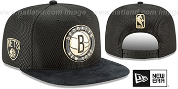 Nets 2017 NBA ONCOURT SNAPBACK Black-Gold Hat by New Era