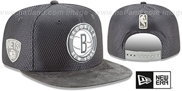 Nets 2017 NBA ONCOURT SNAPBACK Charcoal Hat by New Era