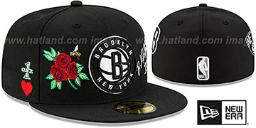 Nets 'CHAMPS-N-ROSES' Black Fitted Hat by New Era