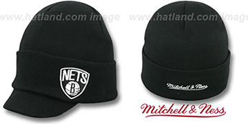 Nets 'CUFFED-VISOR KNIT BEANIE' Black Hat by Mitchell and Ness