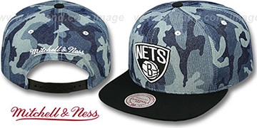 Nets DENIM-CAMO SNAPBACK Blue Hat by Mitchell and Ness