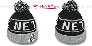 Nets HIGH-5 CIRCLE BEANIE Black-Grey by Mitchell and Ness