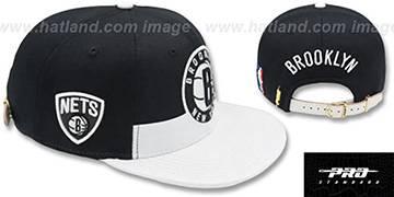 Nets HORIZON STRAPBACK Black-White Hat by Pro Standard