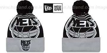 Nets LOGO WHIZ Black-Grey Knit Beanie Hat by New Era