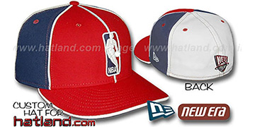 Nets LOGOMAN-3 Red-Navy-White Fitted Hat by New Era