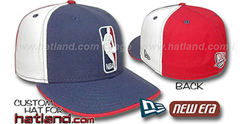 Nets LOGOMAN Navy-White-Red Fitted Hat by New Era