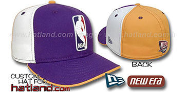 Nets 'LOGOMAN' Purple-White-Gold Fitted Hat by New Era