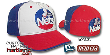 Nets 'OLD SCHOOL PINWHEEL' White-Royal-Red Fitted Hat
