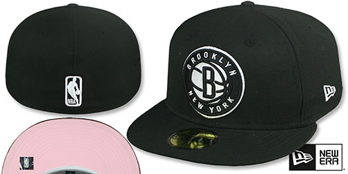 Nets PINK-BOTTOM Black Fitted Hat by New Era