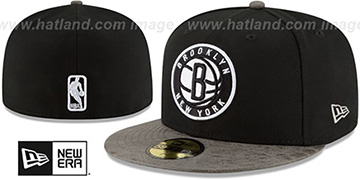 Nets 'RUSTIC-VIZE' Black-Grey Fitted Hat by New Era