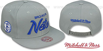 Nets 'TEAM-SCRIPT SNAPBACK' Grey Hat by Mitchell & Ness