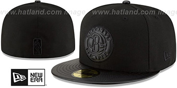 Nets 'TONAL TRICK' Black Fitted Hat by New Era