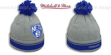 Nets XL-LOGO BEANIE Grey-Royal by Mitchell and Ness