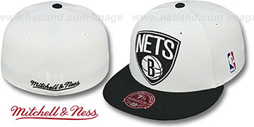 Nets 'XL-LOGO' White-Black Fitted Hat by Mitchell & Ness