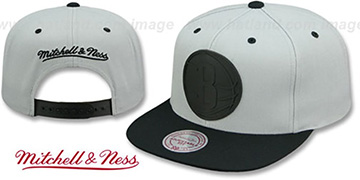 Nets 'XL RUBBER WELD SNAPBACK' Grey-Black Adjustable Hat by Mitchell and Ness