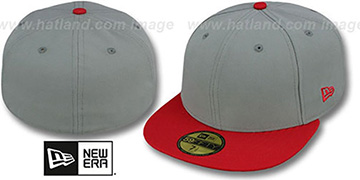 New Era 2T 59FIFTY-BLANK Grey-Red Fitted Hat