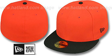 New Era '2T 59FIFTY-BLANK' Orange-Black Fitted Hat