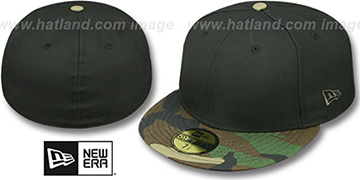New Era '59FIFTY-BLANK' Black-Army Camo Fitted Hat