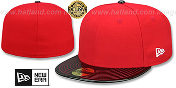 New Era '59FIFTY-BLANK PATENT VIZA' Red-Black Fitted Hat