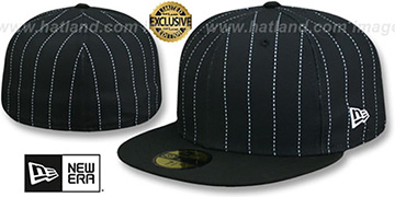 New Era '59FIFTY-BLANK PINSTRIPE' Black-White Fitted Hat