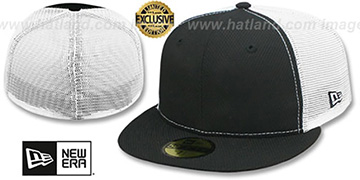 New Era DIAMOND TECH MESH-BACK 59FIFTY-BLANK Black-White Fitted Hat