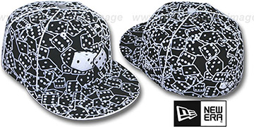 New Era 'FLOCKED DICE' Black-White Fitted Hat