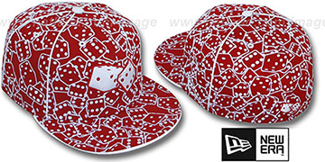 New Era FLOCKED DICE Red-White Fitted Hat
