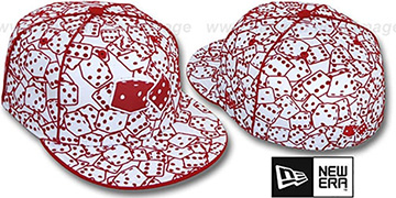 New Era 'FLOCKED DICE' White-Red Fitted Hat