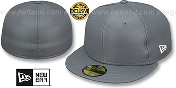 New Era 'LEATHER BLANK' Grey Fitted Hat