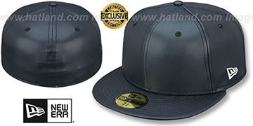 New Era 'LEATHER BLANK' Navy Fitted Hat