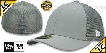 New Era LOW-CROWN MESH-BACK 59FIFTY-BLANK Grey-Grey Fitted Hat