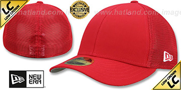 New Era LOW-CROWN MESH-BACK 59FIFTY-BLANK Red-Red Fitted Hat